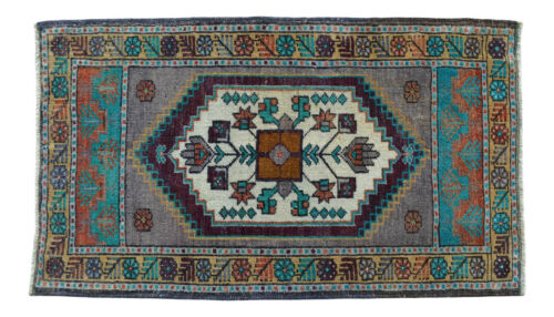 """Vintage Distressed Small Area Rug Hand Knotted Oushak Rugs Yastik -1'10"""" x 3'1'"""