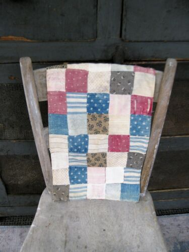Early Antique Blue, Faded Red, Black & White Doll Quilt