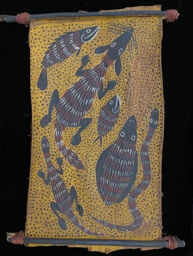 Aboriginal Bark Painting Mornington Island 1980s by Arnold Watt Thuganmu