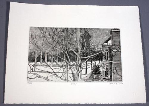 """Frank Stack Signed """"Snow"""" Etching (Robert Crumb contemporary)"""