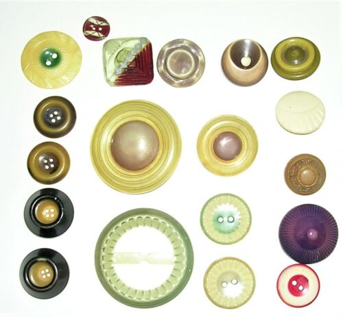 Vintage Novelty Celluloid Buttons Assortment, Saturn with Rings, Misc.