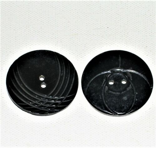 "Vintage Large 1.5"" Art Deco Black Buttons, Made of Unknown Natural Material"
