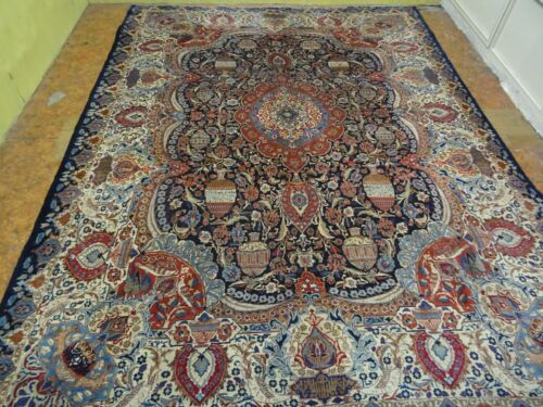 Exquisite 1950's Authentic Vintage Mint Hand Made Knotted Rug 9.7 x 12.8
