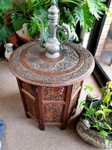 Old Kashmir Carved and Inlaid Teak Table …beautiful collection and display piece