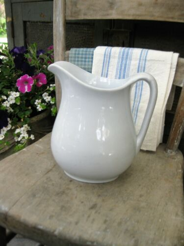 LG Antique White Ironstone Pitcher Powell Bishop Free Shipping