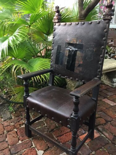 Antique Gothic Throne Chair Leather and Wood With Brass Brads Steampunk cat# 01
