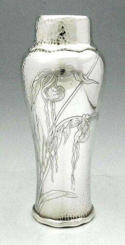 TIFFANY AESTHETIC Hammered Sterling Vase ORCHIDS Stunning 10 1/4""