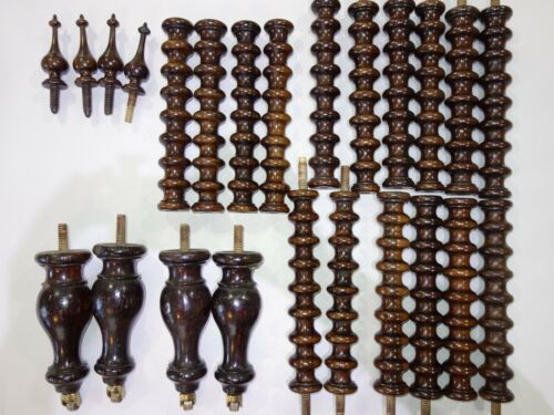 ANTIQUE ROSEWOOD PARTS FROM WHATNOT STAND, TURNED SPINDLES, FEET, FINIALS