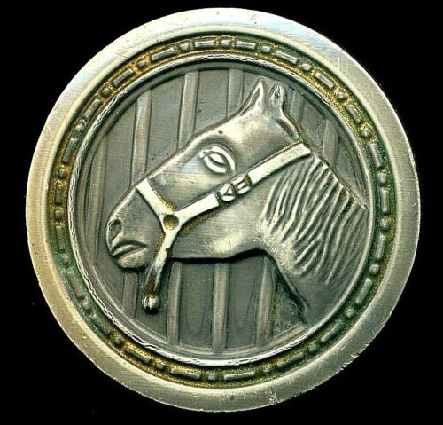 """Vintage Button...Horse Head…Great XL Celluloid 1-Piece 30's…Almost 2""""'"""