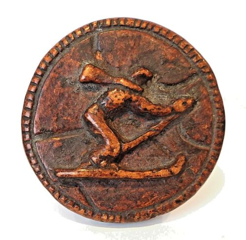 """Rare Extra Large Vintage Burwood / Syrocco Button …Skier…1&7/8"""""""