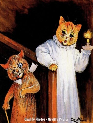 """Inebriated Cat Comes Home at Midnight 8.5x11"""" Photo Print Louis Wain Feline Art"""