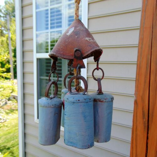 Primitive Cow Bell or Wind Chime from Hide, Iron, Metal, Twine and Orange Ball