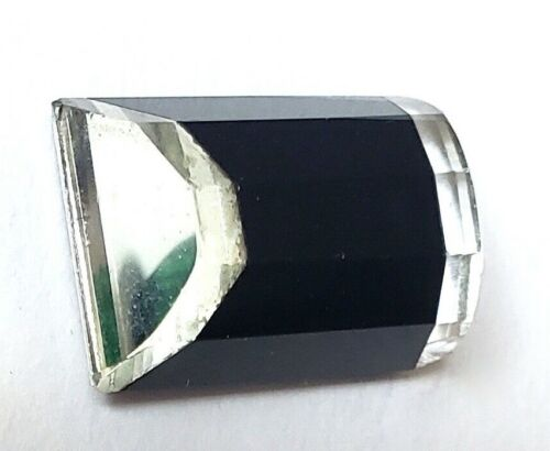 """Antique Button…Black Glass with Side Beveled Mirrors…Rectangle…13/16"""""""