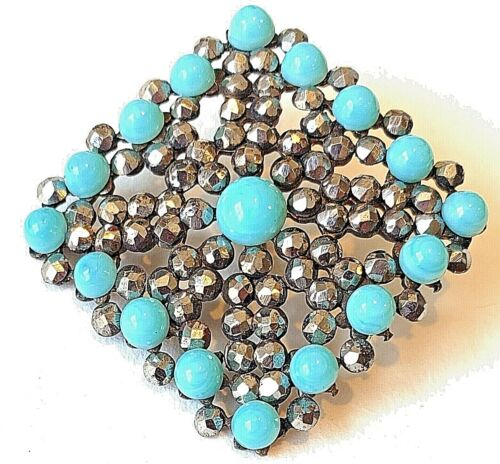 Antique Button…Large Square..Riveted Turquoise Glass & Tons of Sparkly Cut Steel