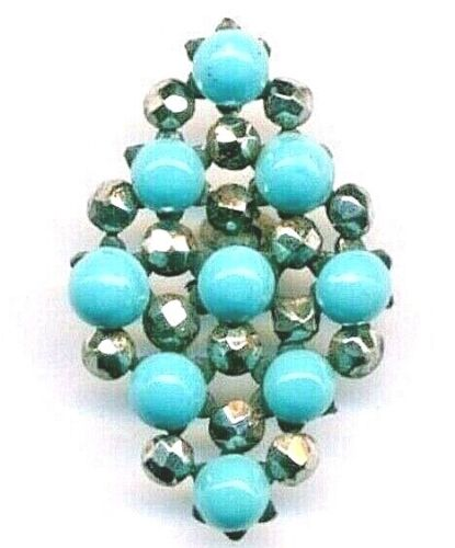 Button…Turquoise Glass Cabochons with Cut Steel…Diamond Shape