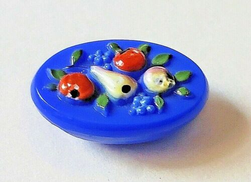 Blue Glass Oval with Raised Enamel Fruits….Antique Button