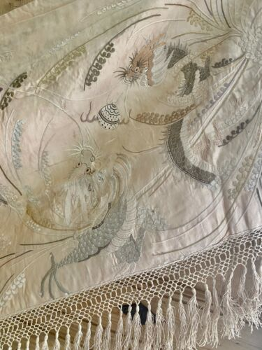 Antique French EMBROIDERED SILK CANTONNIERE PELMET chinoiserie FRINGES c 1920