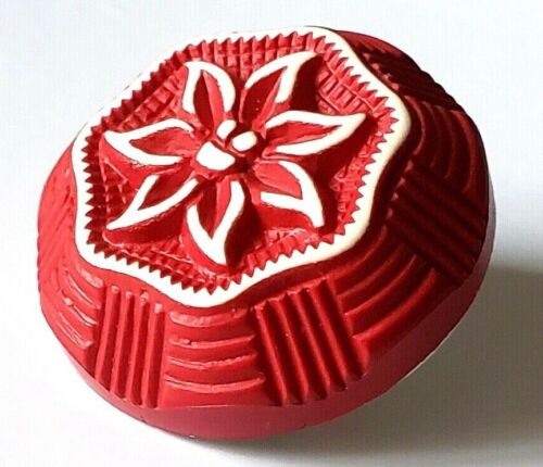 """Vintage Button…Buffed Celluloid…High Profile Red Flower….Edelweiss?….1&1/8"""""""