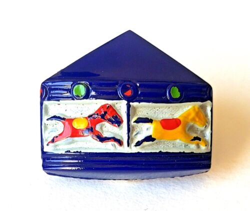 """Vintage Blue Glass Realistic...Merry-Go-Round Carousel Button w Horses…13/16"""""""