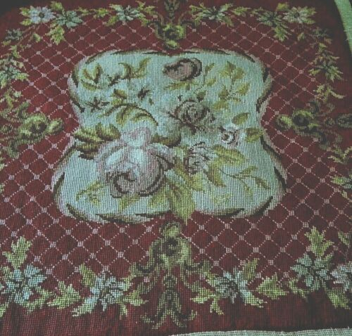 19C French Aubusson tapestry wool panel roses flower design style chair panel
