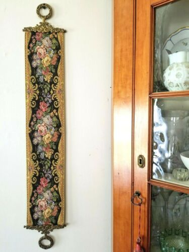 """BELL PULL wall hanging, tapestry, brass ends-rings, Rococo, reproduction, 49"""" L"""