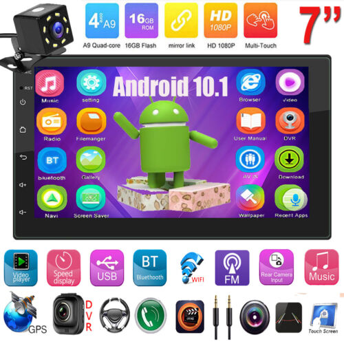 2DIN Car FM Radio Android10.1 4Core MP5 Player GPS WiFi BT AUX Auto Stereo+Cam