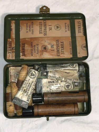 Vtg BELL SYSTEM S Lineman mini FIRST AID kit Army Green metal Box FULL CONTENTS