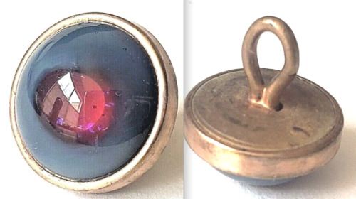 """Beautifully Made Antique Waistcoat Button…Grey Glass with Raspberry """"Eye""""…1/2"""""""