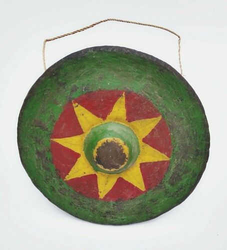 Vintage Asian Hand Hammered Suspended Nipple GONG hand decorated