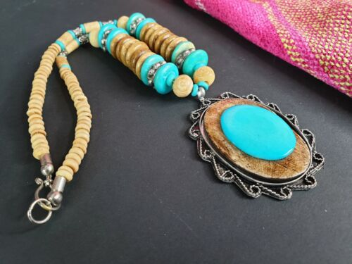 Old Tibetan Local Silver, Turquoise and Horn Necklace …beautiful collection