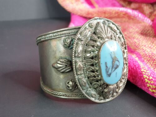 Old Mexican Style Local Silver and Turquoise Bracelet …beautiful accent piece