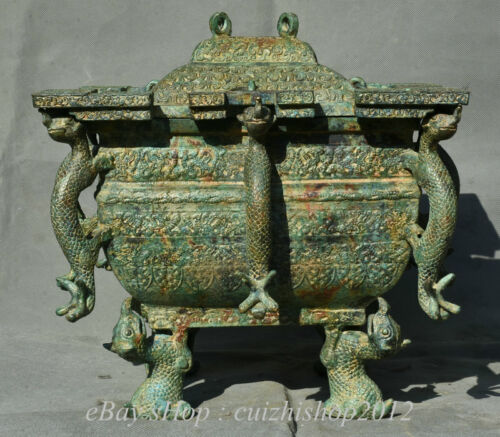 """14"""" Antique Chinese Bronze Ware Dynasty Palace Dragon Beast Ear Food Vessels"""