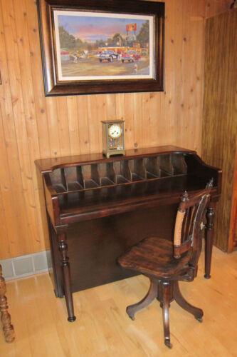 VINTAGE PIANO CONVERTED TO A DESK WITH A VINTAGE OFFICE CHAIR Late 1800's CHAIR-