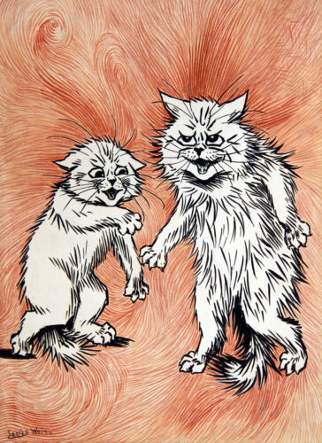 """Mean Cats 8.5x11"""" Photo Print Louis Wain Feline Animal Painting Fire of the MInd"""