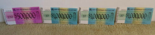 New South Wales State Lottery Tickets Old 1970s Half Million and Million Dollar
