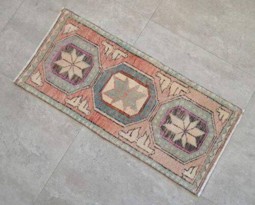 """Vintage Distressed Small Area Rug Hand Knotted Oushak Rugs Yastik -1'3""""x2'8"""""""