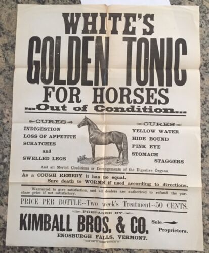 WHITE'S GOLDEN TONIC FOR HORSES MID 1800'S MEDICINE POSTER SIGN EqUINE