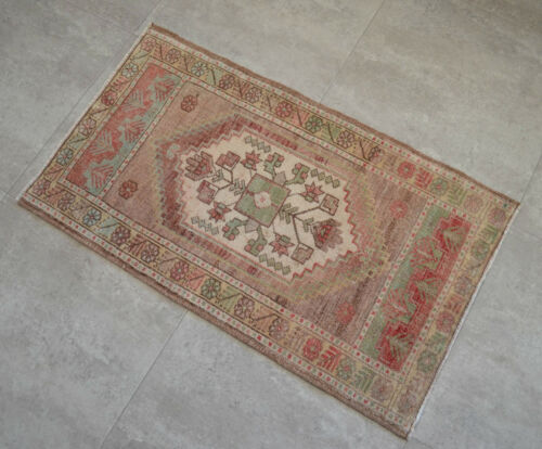 """Vintage Distressed Small Area Rug Hand Knotted Oushak Rugs Yastik -1'10""""x3'1"""""""