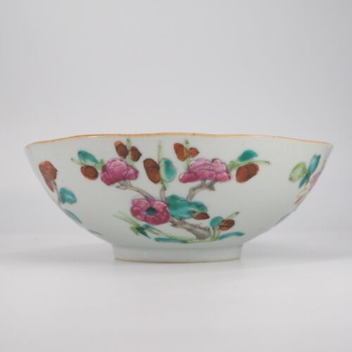Chinese porcelain bowl, famille rose flowers, c. 1820