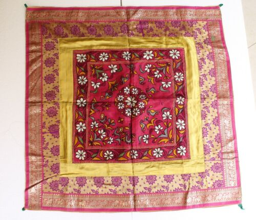 Antique Original Pure Silver King Khwab Embroidery Brocade Table Cloth NH2893