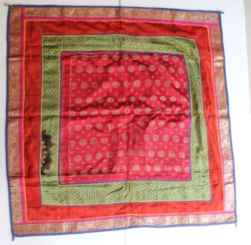 Antique Old Pure Silver King Khwab Embroidery Brocade Wall Hanging Cloth NH2895