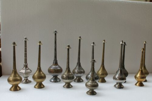 13 Pc Antique Hand Crafted Brass Rose Water Sprinkling Bottle Gulabdani NH2911
