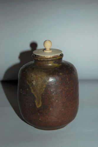 Antique chaire tea caddy, stoneware, possibly Seto ware, Japan