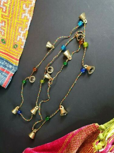 Old Tibetan Miniature Brass Bells and Glass beaded Necklace …beautiful collectio