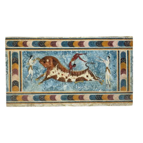 Bull-Leaping REAL Fresco 1450-1400 BC Painting Hand-painted on Plaster Knossos