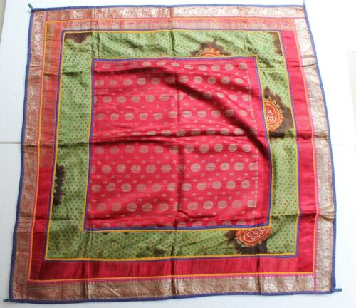 Antique Old Pure Silver King Khwab Embroidery Brocade Wall Hanging Cloth NH2894