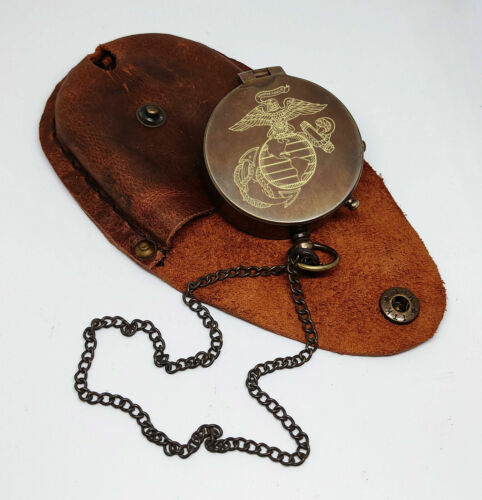 Antique Brass Flat Pocket Compass with Leather Case Engrave Compass Gift
