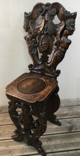 Antique French black forest Alsacian chair 19th century woodwork fauns chimeras