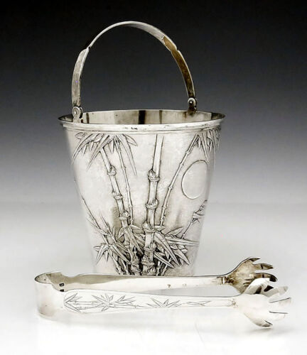 Chinese Export Silver HUNG CHONG Ice Bucket with Tongs CHASED BAMBOO