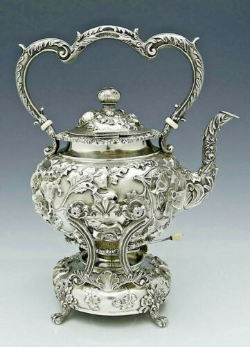 Gorgeous KIRK REPOUSSE Sterling KETTLE ON STAND Floral Chasing 62 oz